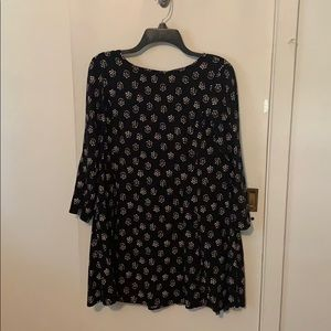 Black 3/4 Sleeve Babydoll Dress with Flower Print